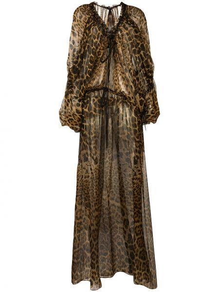 Платье макси леопардовое с V-образным вырезом Saint Laurent