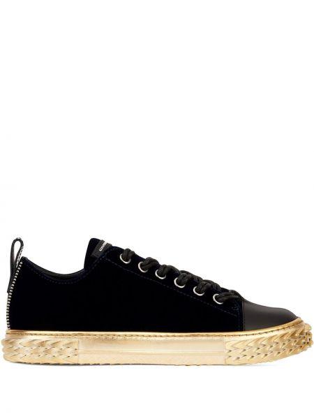 Koronkowa skórzany czarny sneakersy okrągły Giuseppe Zanotti