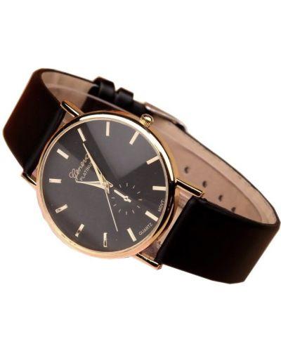Klasyczny czarny złoty zegarek na skórzanym pasku Geneva