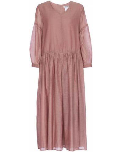 Ватное шелковое розовое платье миди 's Max Mara