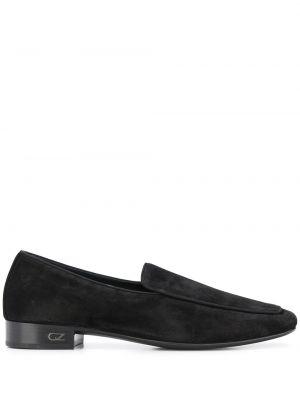 Czarny loafers na pięcie z prawdziwej skóry plac Giuseppe Zanotti