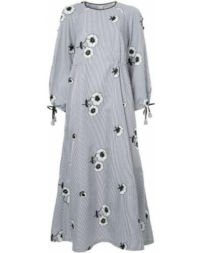 Вязаное платье с цветочным принтом в полоску Huishan Zhang