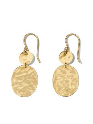 Золотистые серьги-гвоздики золотые на крючках Ippolita