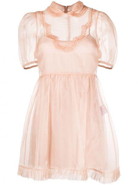 Różowa sukienka mini rozkloszowana z falbanami Redvalentino
