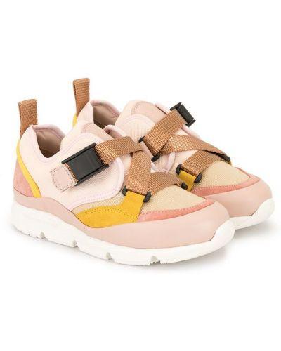 Beżowe sneakersy skorzane Chloé Kids