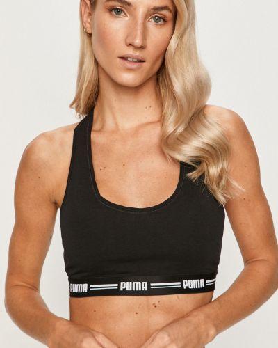 Czarny biustonosz sportowy bawełniany z printem Puma