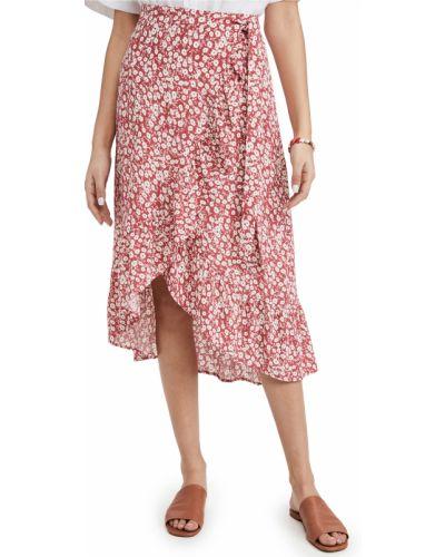 Красная юбка из вискозы в цветочный принт Rails