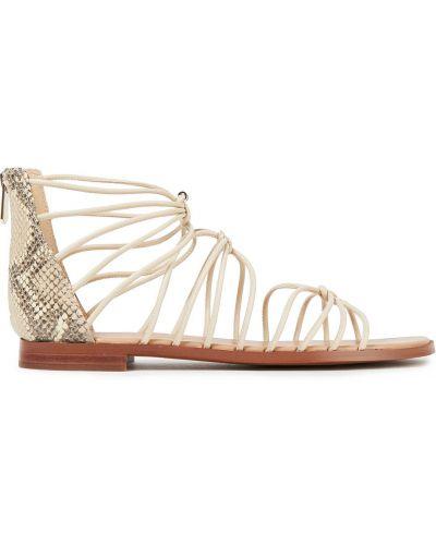 Открытые бежевые кожаные сандалии Sam Edelman