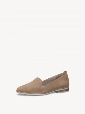 Бежевые кожаные туфли Tamaris