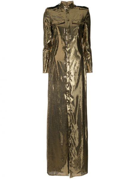 Прямое платье с пайетками на пуговицах с воротником Ralph Lauren Collection