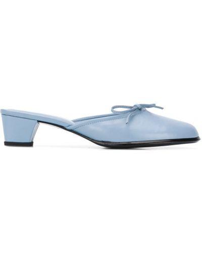 Синие кожаные мюли на каблуке без застежки Dorateymur