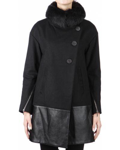 Шерстяное черное пальто с капюшоном Plein Sud
