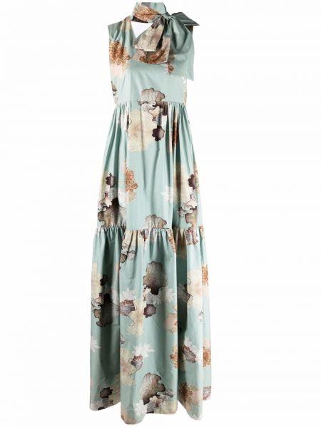 Niebieska sukienka długa w kwiaty bawełniana Antonio Marras