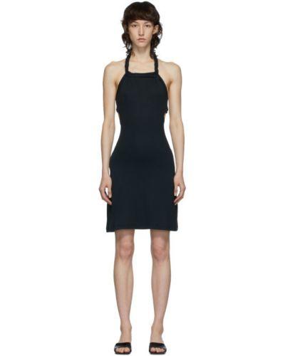 Черное платье мини с открытой спиной с воротником без рукавов Vejas