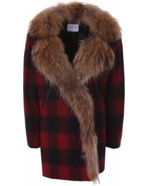 Терракотовое укороченное пальто с воротником из енота с карманами Forte Couture