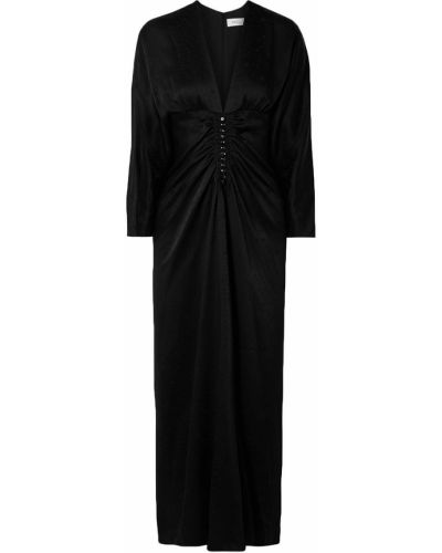 Czarna sukienka długa z jedwabiu zapinane na guziki Racil