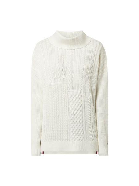Biały bawełna wełniany sweter z kołnierzem Tommy Hilfiger