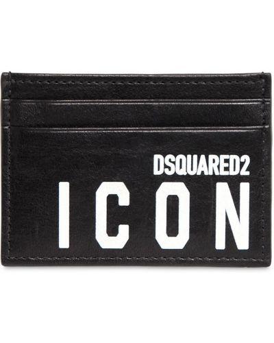 Czarny portfel skórzany z printem Dsquared2