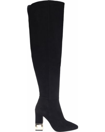 Черные кожаные ботфорты Albano