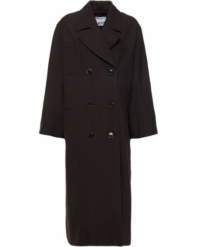 Płaszcz dwurzędowy asymetryczny z wiskozy Ganni
