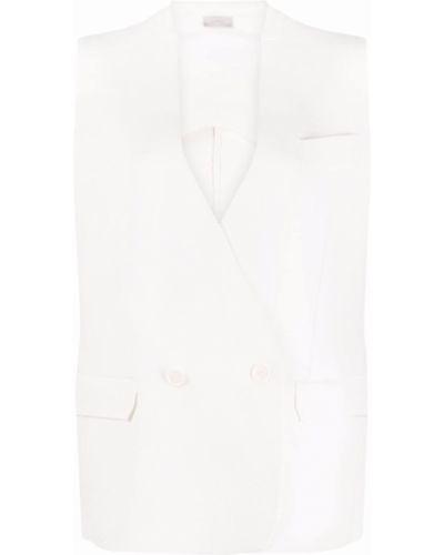 Biała kamizelka bez rękawów z dekoltem w serek Mrz