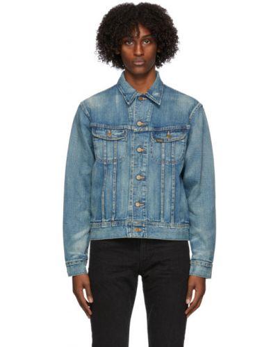 Синяя джинсовая куртка на пуговицах с манжетами с воротником Rrl