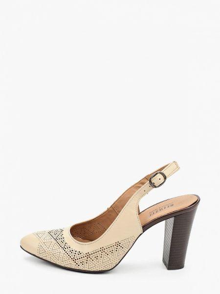Кожаные туфли с открытой пяткой бежевый Belwest