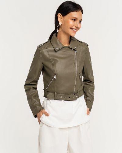 Кожаная короткая куртка хаки на молнии Befree