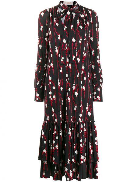 Черное расклешенное платье на пуговицах из вискозы La Doublej