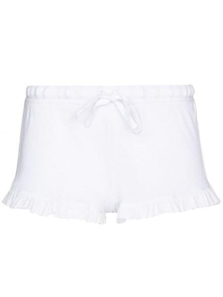 Свободные белые кожаные шорты Skin