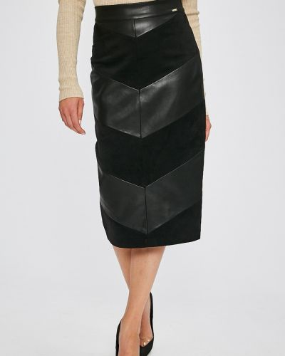 Черная юбка карандаш с поясом в рубчик Marciano Guess