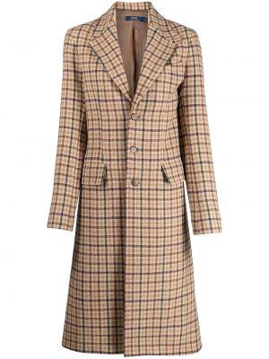 Бежевое кожаное длинное пальто с карманами Polo Ralph Lauren