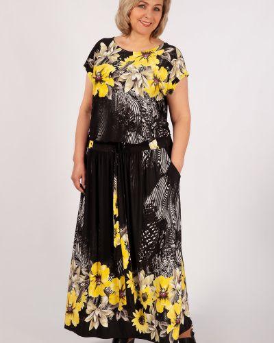 Платье макси с поясом с кокеткой с вырезом милада
