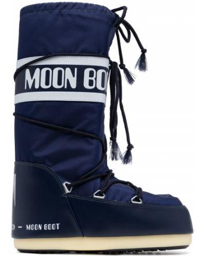 Синие сапоги на шнуровке Moon Boot