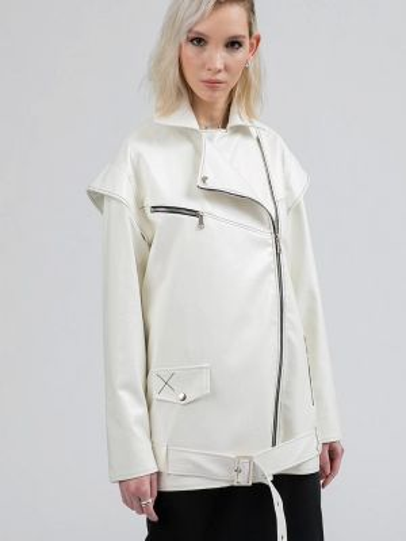 Кожаная куртка весенняя белая Polunina