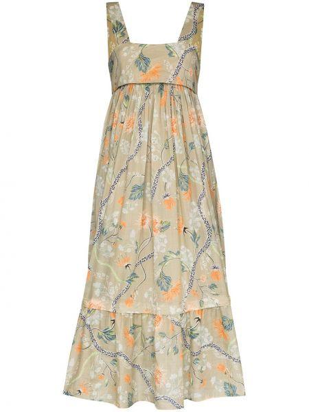 Коричневое платье миди без рукавов с вырезом квадратное Chloé