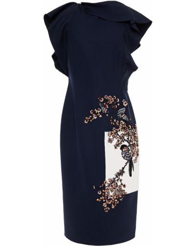 Шерстяное синее платье с пайетками Oscar De La Renta