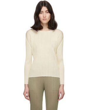 Пуловер в полоску белый Pleats Please Issey Miyake