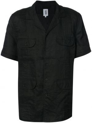 Черная льняная рубашка с короткими рукавами 321
