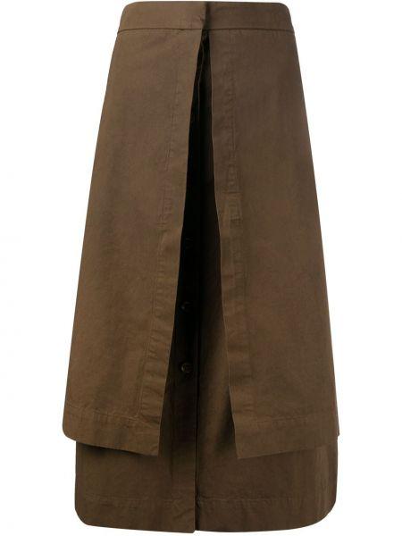 Prosto ciemny brąz z wysokim stanem spódnica ołówkowa z kieszeniami Lemaire