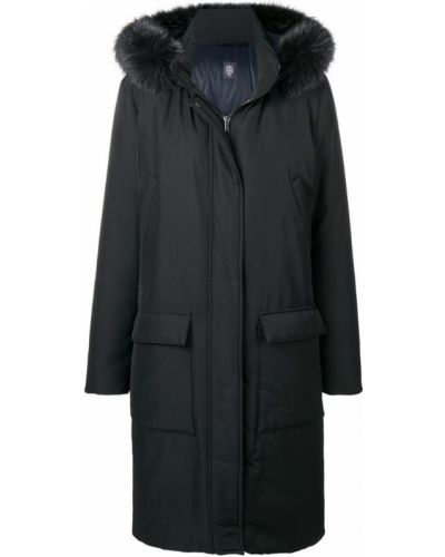 Черное длинное пальто с капюшоном на пуговицах Eleventy