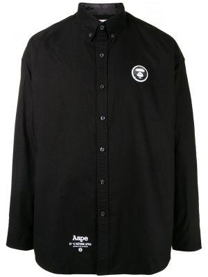 Хлопковая с рукавами черная рубашка Aape By A Bathing Ape