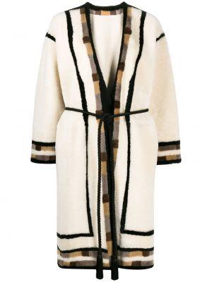 Кожаное длинное пальто с поясом с вырезом Blancha