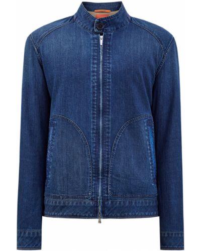 Синяя кожаная джинсовая куртка с карманами Cortigiani
