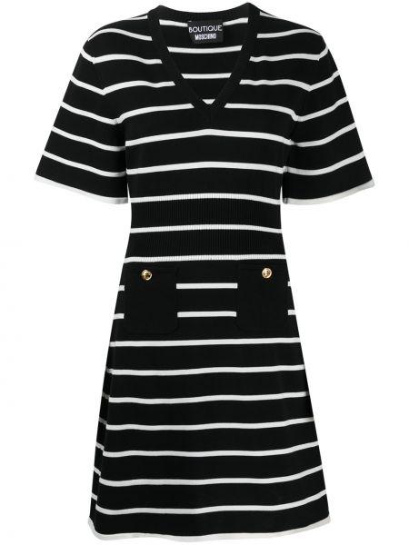 С рукавами вязаное черное платье мини Boutique Moschino
