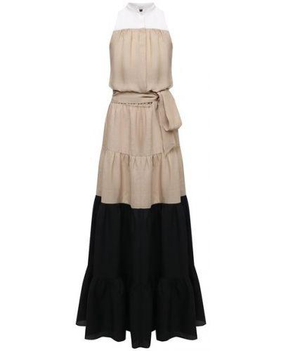 Льняное платье - бежевое Kiton