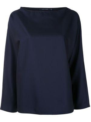 Шерстяная синяя блузка с длинным рукавом свободного кроя с вырезом Sofie D'hoore