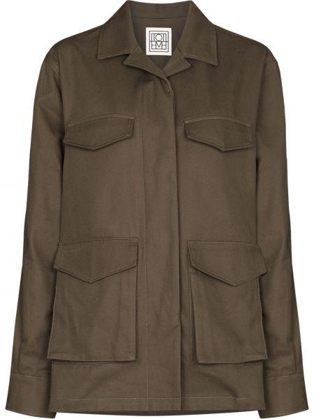 Зеленая длинная куртка Toteme
