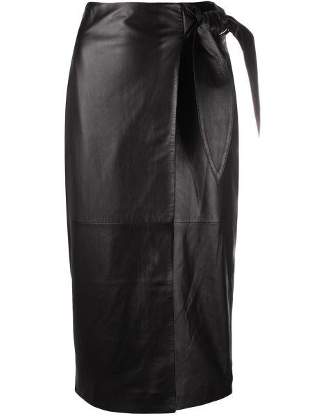 Кожаная черная юбка миди с завязками Arma