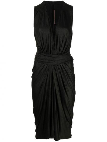 Черное платье миди с запахом без рукавов Rick Owens Lilies